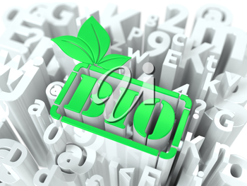 Green Bio Simbol on White Alphabet Wordcloud. Ecological Concept. Background for Your Publication or Blog.