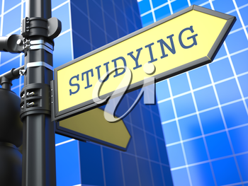 Education Concept. Studying Roadsign Arrow on Blue Background.