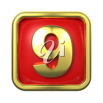 Gold Numbers in Frame, on Red Background - Number 9
