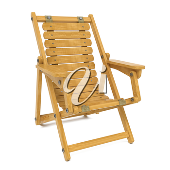 Wooden Folding Deckchair. Isolated on White Background.