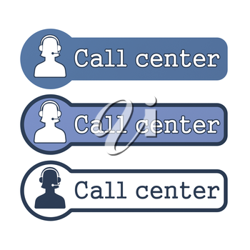 Website Element: Call Center on White Background.