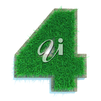 Beautiful Spring Numbers Made of Grass and Surrounded with  Border