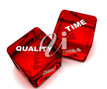 two dice designating time - quality
