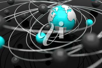 Background with abstract spheres and the Earth