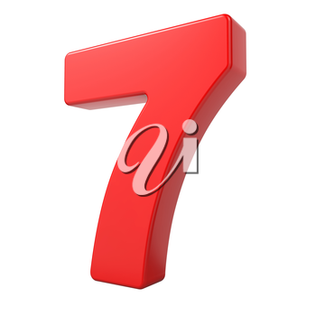 Red 3D Digit 7 Isolated on White Background.