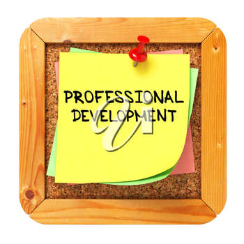 Professional Development, Yellow Sticker on Cork Bulletin or Message Board. Business Concept. 3D Render.