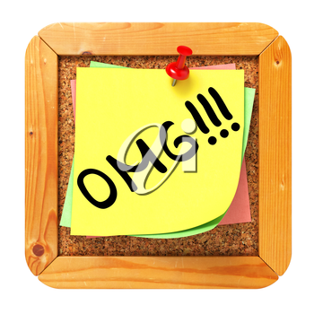 OMG. Yellow Sticker on Cork Bulletin or Message Board. Business Concept. 3D Render.