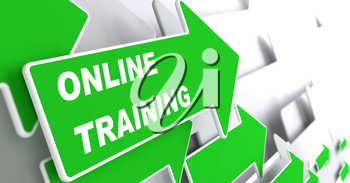 Online Trainin - Education Concept. Green Arrow with Webinar slogan on a grey background. 3D Render.