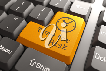 Orange Time For Risk Button on Computer Keyboard. Business Concept.