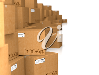 Cardboard Boxes on White. Industrial Background.