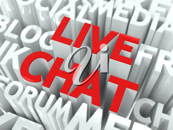 Live Chat Concept. The Word of Red Color Located over Text of White Color.