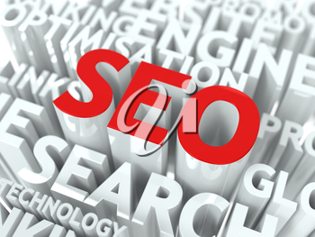 Seo Concept. The Word of Red Color Located over Text of White Color.