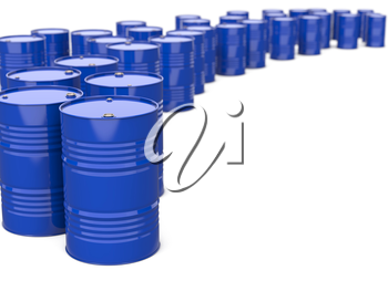Industrial Background with Blue Barrels. Isolated on white.