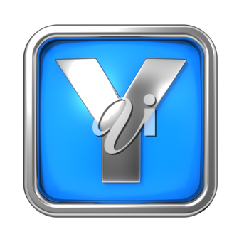 Silver Letter in Frame, on Blue Background - Letter Y