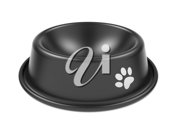 Black Pet Bowl Isolated on White Background.
