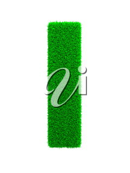 Grass Letter L Isolated on White Background.