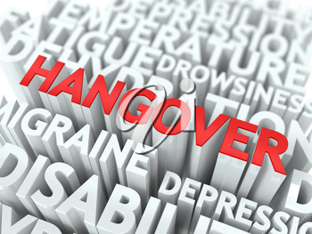 Hangover Concept. The Word of Red Color Located over Text of White Color.