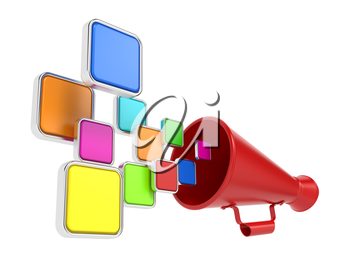 Hot News Concept. Cloud of Color Icons Taking off from the Megaphone.