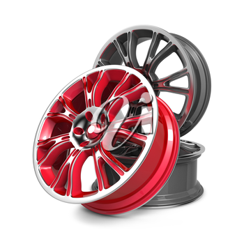 Car Rims, Red and Gray Rims isolated on White.