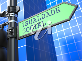Social Concept. Social Equality Sign (Portuguese) on Blue Background.
