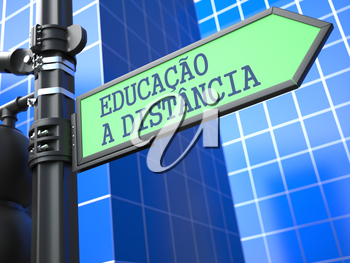 Education Concept. Inscription Distance Learning on Sign (Portuguese) on Blue Background.