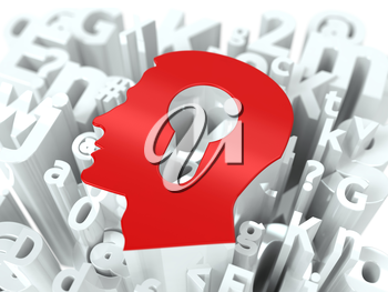 Head with Keyhole on Alphabet Background. Education Concept.