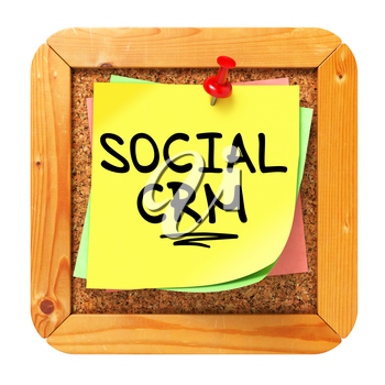 Social CRM, Yellow Sticker on Cork Bulletin or Message Board. Information Technology Concept. 3D Render.