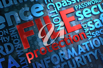 File Protection- Wordcloud Concept. The Word in Red Color, Surrounded by a Cloud of Blue Words.