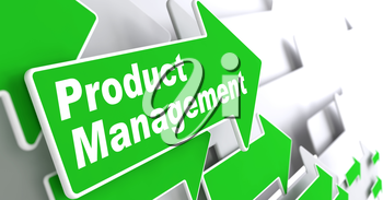 Product Management - Business Concept. Green Arrow with Product Management Slogan on a Grey Background. 3D Render.