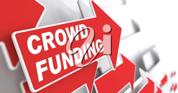 Crowd Funding. Internet Concept. Red Arrow with Crowd Funding Slogan on a Grey Background. 3D Render.