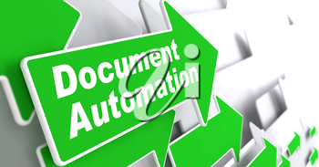 Document Automation - Business Concept. Green Arrow with Document Automation Slogan on a Grey Background. 3D Render.