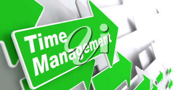 Time Management - Business Concept. Green Arrow with Time Management Slogan on a Grey Background. 3D Render.
