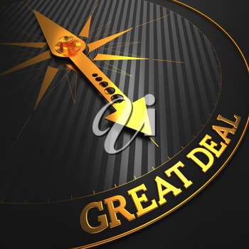 Great Deal - Business Background. Golden Compass Needle on a Black Field Pointing to the Word Great Deal. 3D Render.