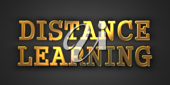 Distance Learning - Business Concept. Gold Text on Dark Background. 3D Render.