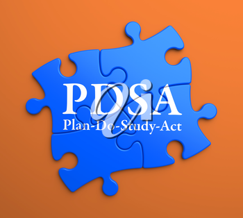 PDSA - Plan-Do-Study-Act - Written on Blue Puzzle Pieces on Orange Background. Business Concept.