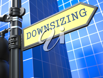 Downsizing Word on Yellow Roadsign on Blue Urban Background. Business Concept. 3D Render.