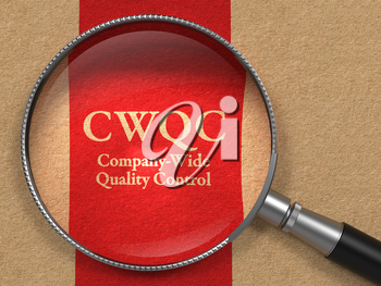 CWQC- Company-Wide Quality Control - Concept: Magnifying Glass with CWQC on Old Paper with Red Vertical Line Background.