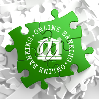 Online Banking on Green Puzzle Pieces. Business Concept.