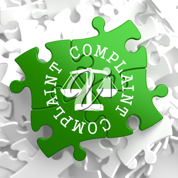 Complaint Word Written Arround Icon of Scales in Balance, Located on Green Puzzle Pieces. Business Concept.