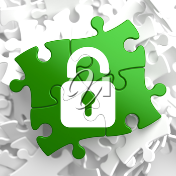 Security Concept - Icon of Opened Padlock - Located on Green Puzzle Pieces.
