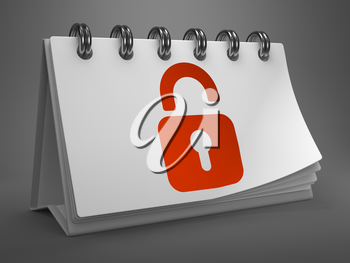 White Desktop Calendar with Red Icon of Opened Padlock on Gray Background. Security Concept.