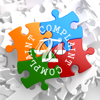 Complaint Word Written Arround Icon of Scales in Balance, Located on Multicolor Puzzle. Business Concept.