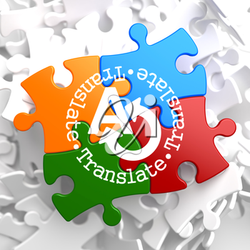 Translate on Multicolor Puzzle. Communication Concept.