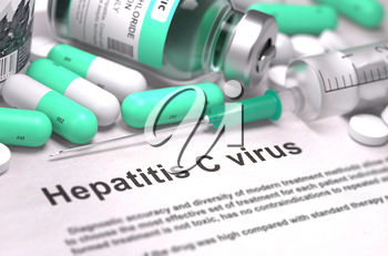Hepatitis C Virus - Printed Diagnosis with Blurred Text. On Background of Medicaments Composition - Mint Green Pills, Injections and Syringe. 3d Render.