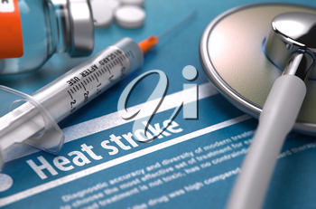 Heat stroke - Medical Concept on Blue Background with Blurred Text and Composition of Pills, Syringe and Stethoscope. 3d Render.