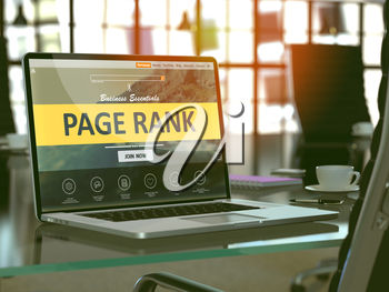 Modern Workplace with Laptop showing Landing Page with Page Rank Concept. Toned Image with Selective Focus. 3d Render. 3d Render.