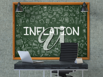 Inflation. Green Chalkboard on the Gray Concrete Wall in the Interior of a Modern Office with Hand Drawn Inflation.  Business Concept with Doodle Style Elements. 3d.