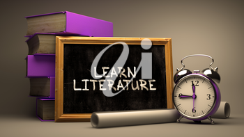 Learn Literature Concept Hand Drawn on Chalkboard. Blurred Background. Toned Image. 3d Render.