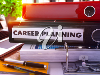 Career Planning - Black Office Folder on Background of Working Table with Stationary and Laptop. Career Planning Business Concept on Blurred Background. Career Planning Toned Image. 3D.