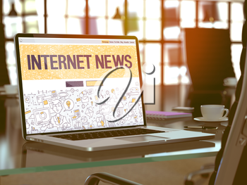 Internet News Concept. Closeup Landing Page on Laptop Screen in Doodle Design Style. On Background of Comfortable Working Place in Modern Office. Blurred, Toned Image.  3D Render.